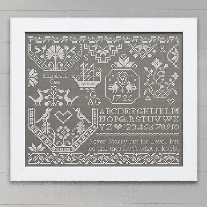 Elizabeth Gee: A Quaker Sampler, original cross-stitch embroidery pattern PDF