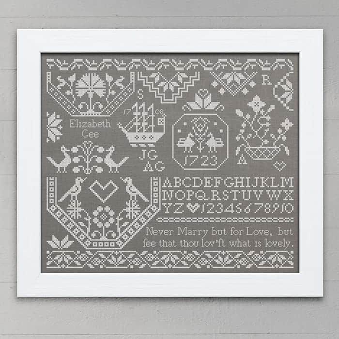 Elizabeth Gee: A Quaker Sampler, original cross-stitch embroidery pattern PDF