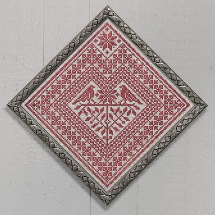 Distelfink Heart - A Good-Luck Charm - Pennsylvania Dutch Symbol, original cross-stitch embroidery pattern chart