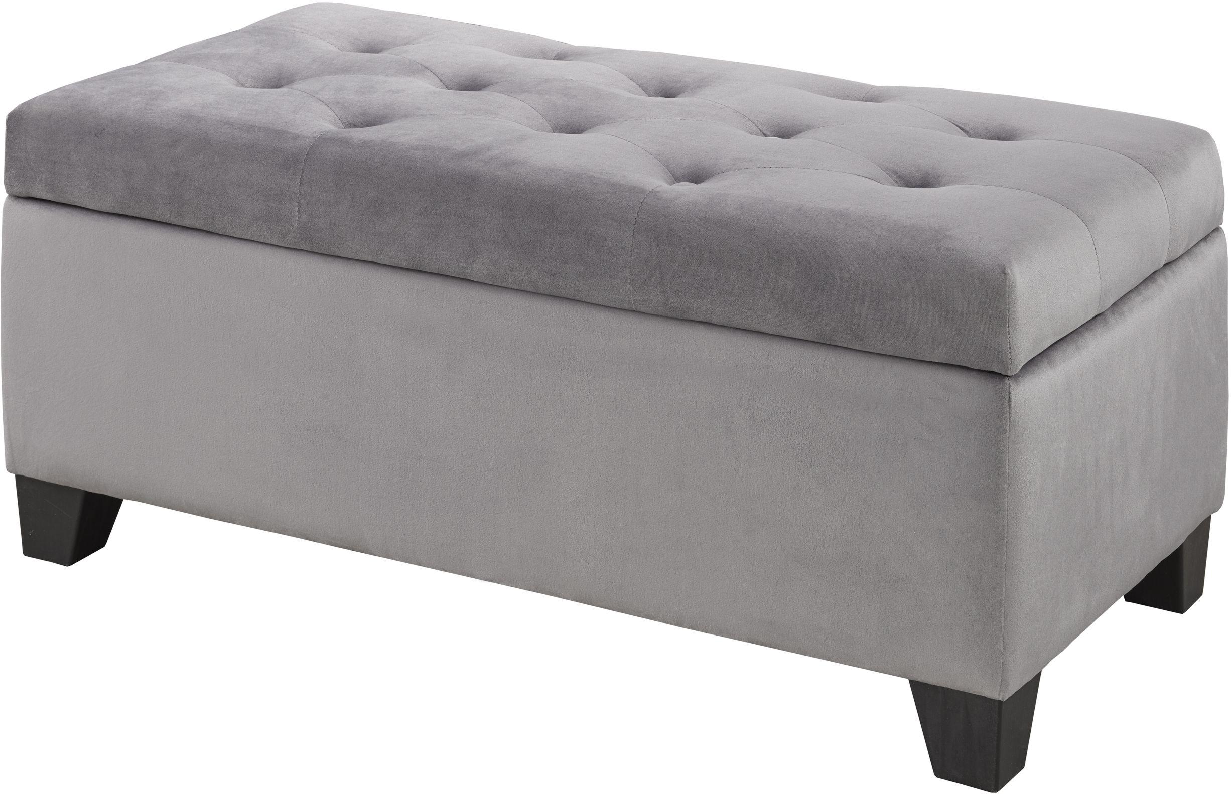 brassex tufted storage ottoman grey br 22291 gr modern furniture canada