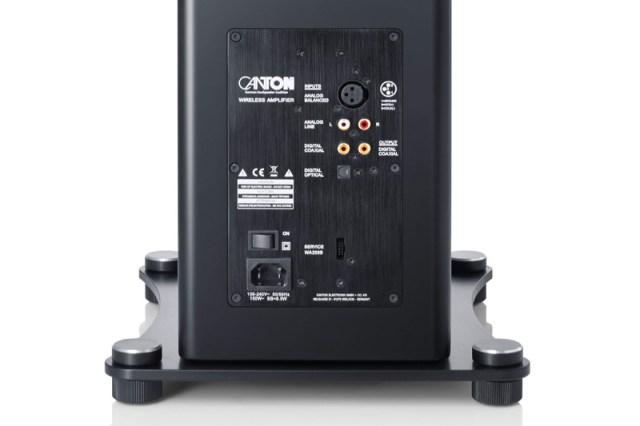 Canton Smart A 25 Wireless-Lautsprecher Anschlüsse TOSLINK Koax XLR Cinch und Bluetooth