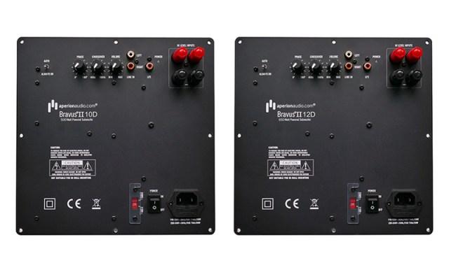 AperionAudio Bravus II 12D und 10D Anschlüsse auf der Rückseite der beiden Subwoofer
