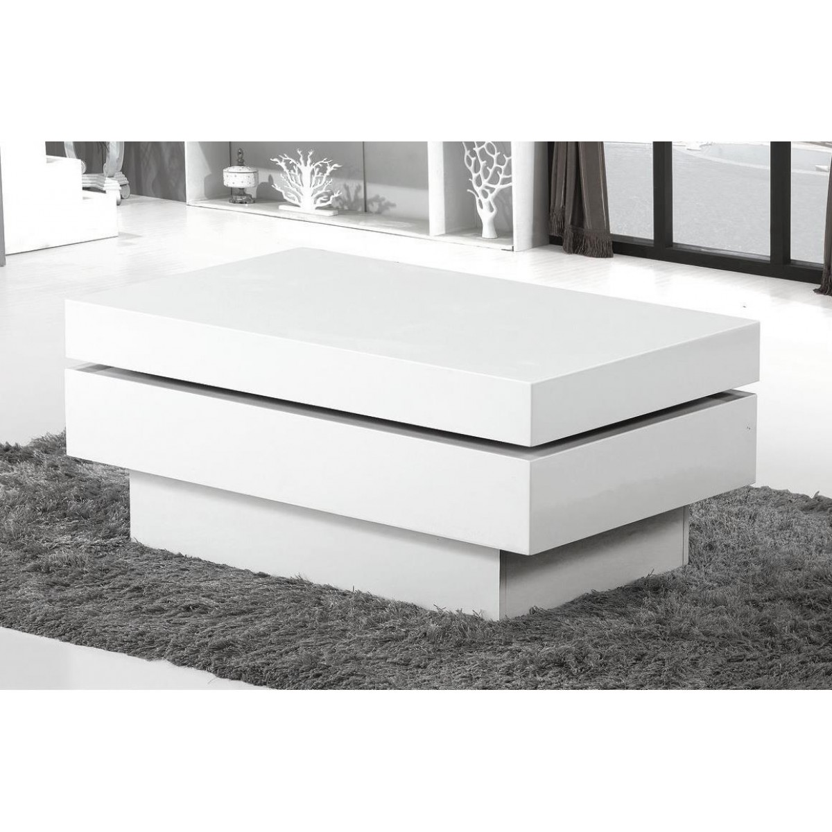 white high gloss movable coffee table block