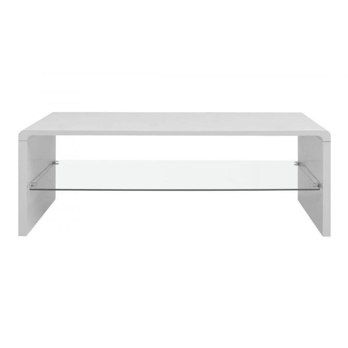 high gloss coffee table glass shelf white