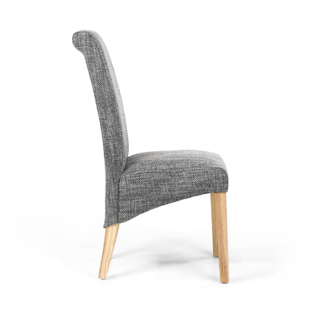Modern Home Karta Scroll Back Tweed Grey Dining Chair Free Next Day Delivery