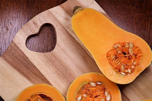 butternut squash on cutting board