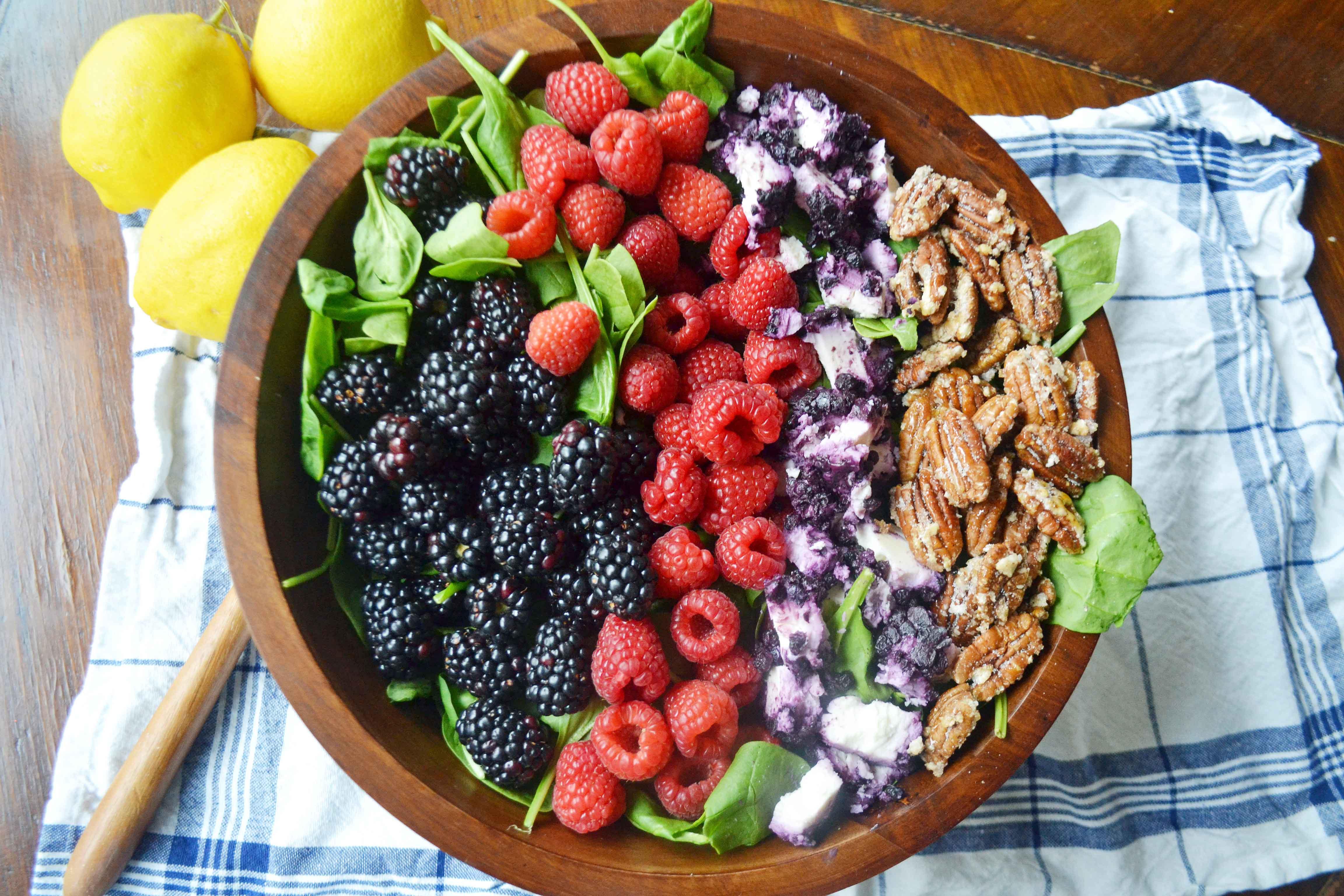 Berry Pecan Salad with Lemon Vanilla Bean Dressing by Modern Honey - www.modernhoney.com