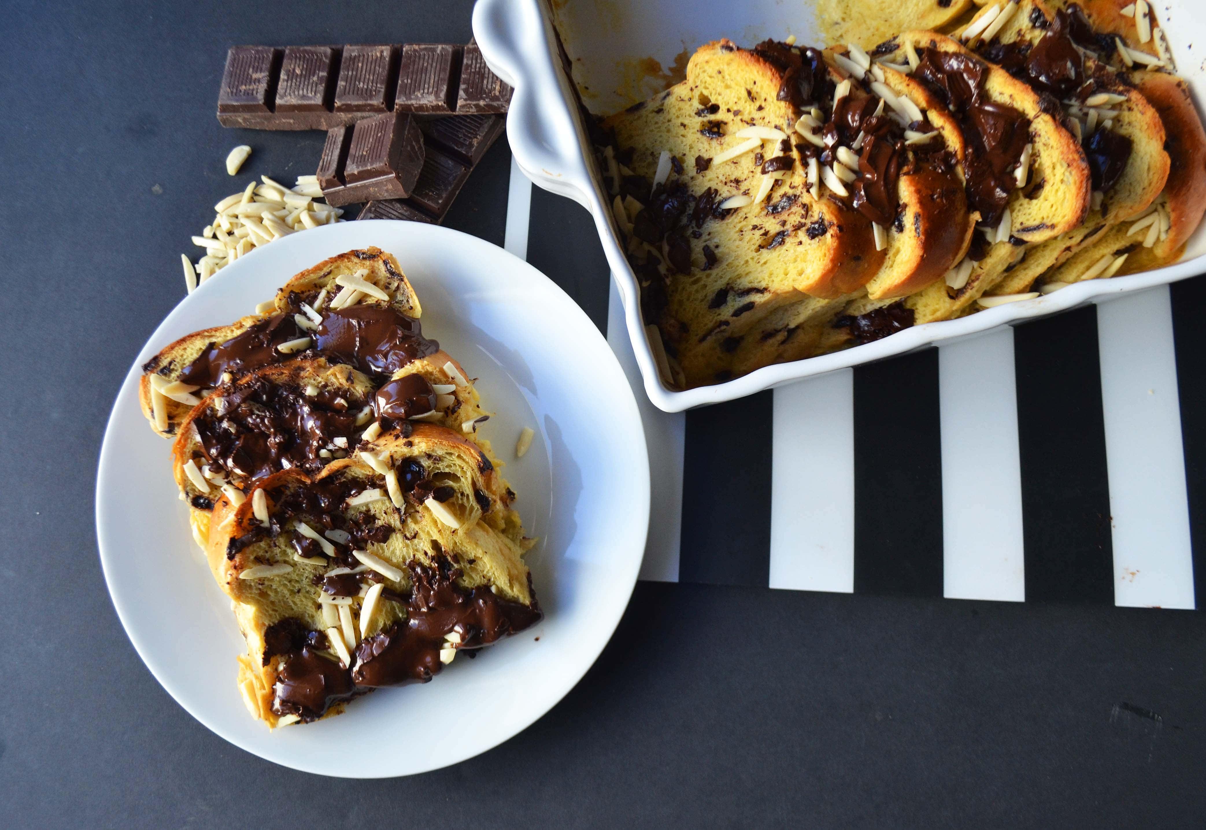 Chocolate Almond Brioche Baked French Toast | Modern Honey
