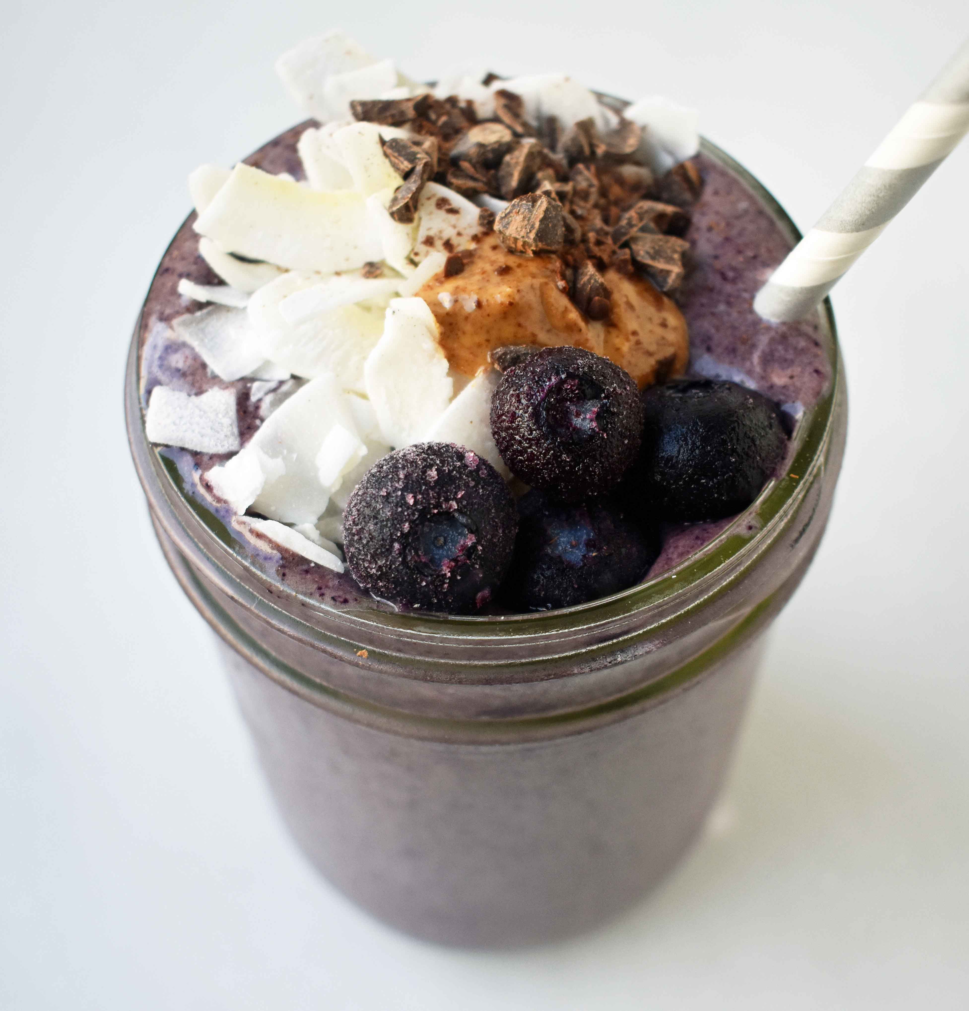Wild Blueberry Chocolate Coconut Smoothie | Modern Honey