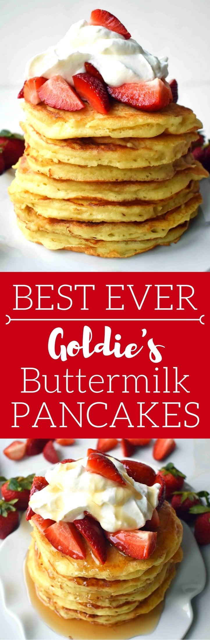 Goldie's Best Buttermilk Pancakes. Tender, soft, fluffy and buttery buttermilk pancakes. www.modernhoney.com