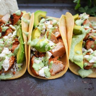 Grilled Chicken Tacos with Roasted Poblano Crema