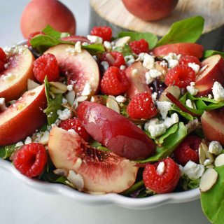 White Peach Raspberry Almond Salad