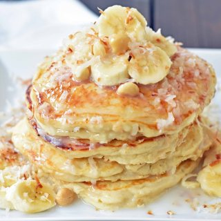 Toasted Coconut Macadamia Pancakes with Coconut Syrup