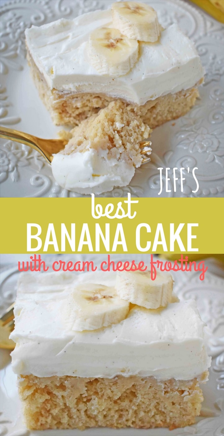 Jeff's BEST Banana Cake Recipe. This moist and tender banana cake is topped with a sweet and buttery cream cheese frosting. This is the best banana cake I have ever had and the only recipe I need. This banana cake with cream cheese frosting will knock your socks off! www.modernhoney.com
