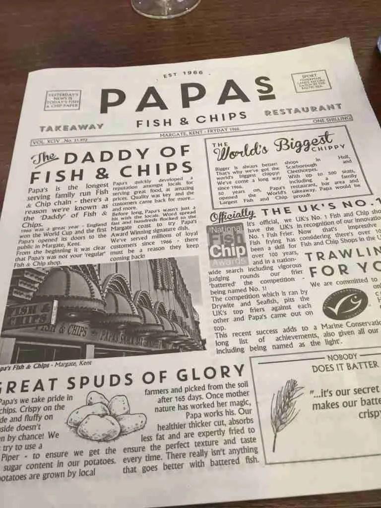 Papa's Fish & Chips menu