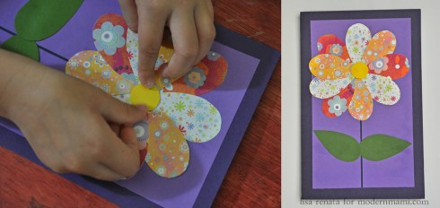 Adding Center of Flower on Homemade Mother's Day Card Craft for Kids