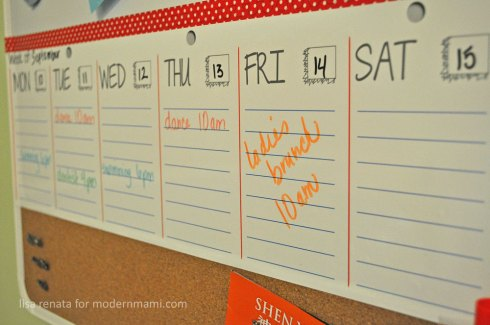 Dry-erase Family Color-Coded Weekly Calendar Schedule