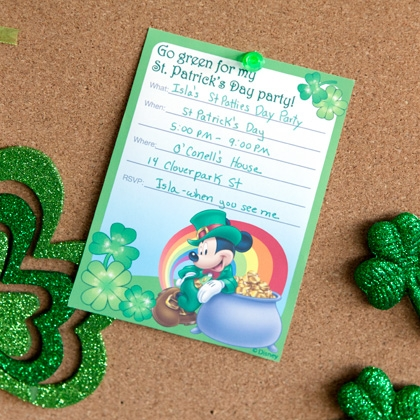 Mickey St. Patrick's Day Party Invitations
