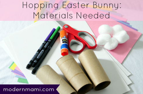 Materials Needed for Hopping Easter Bunny Kids Craft