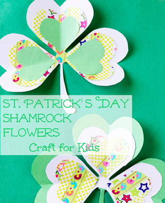St. Patrick's Day Shamrock Flowers Craft for Kids