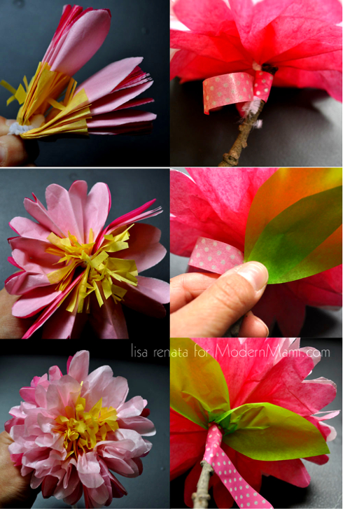 How to Make Tissue Flowers: Add Stem and Leaves