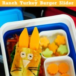 Bunny Garden School Lunch Idea with a Ranch Turkey Burger Slider {Recipe}