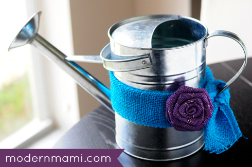 Watering Can Centerpiece with Dyed Burlap Ribbon