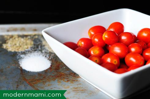 Simple Fresh Tomato and Mozzarella Cheese Salad with Grape Tomatoes