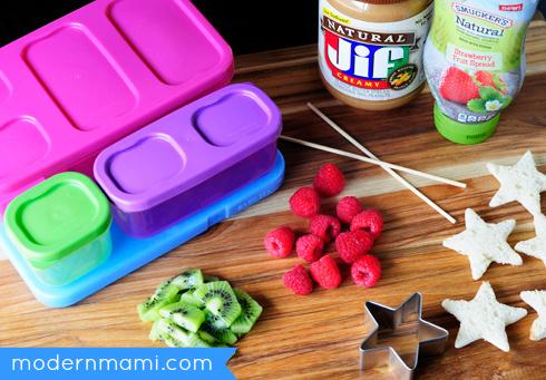 School Lunch Idea: PB & J Fruit Kabobs, Ingredients & Materials Needed
