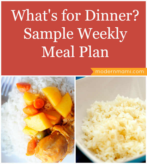 What's for Dinner? Sample Weekly Meal Plan