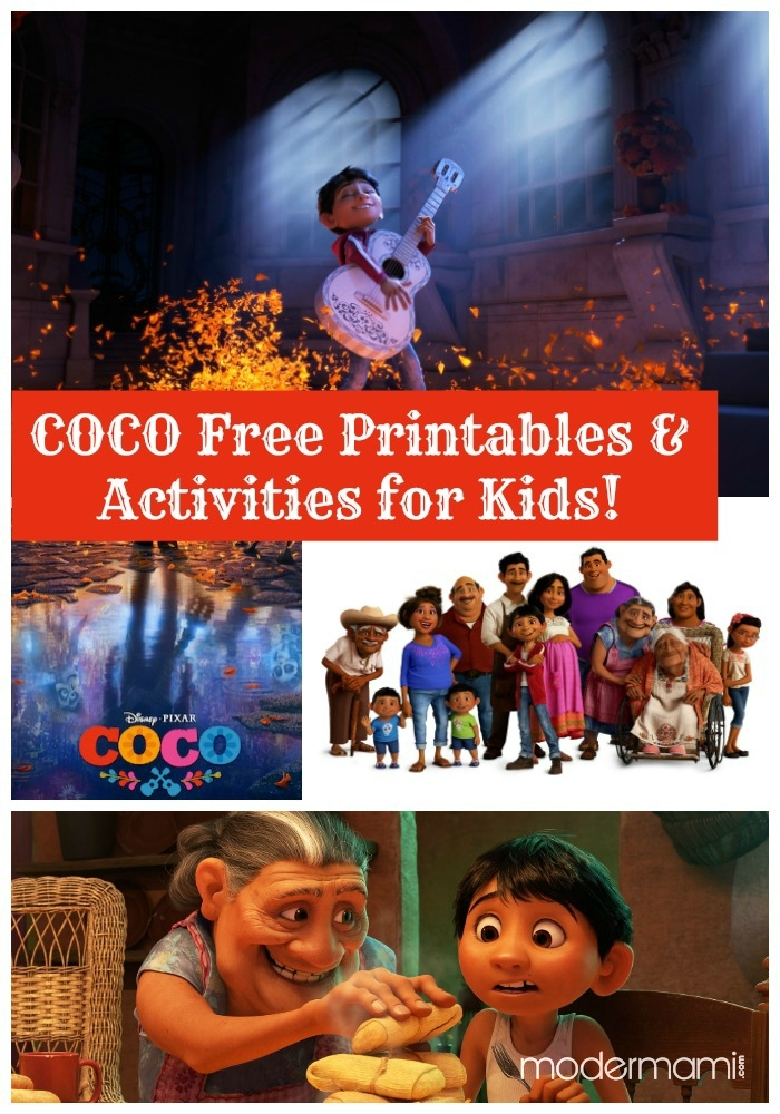 Disney Pixar\'s Coco Free Printables and Activities for Kids!