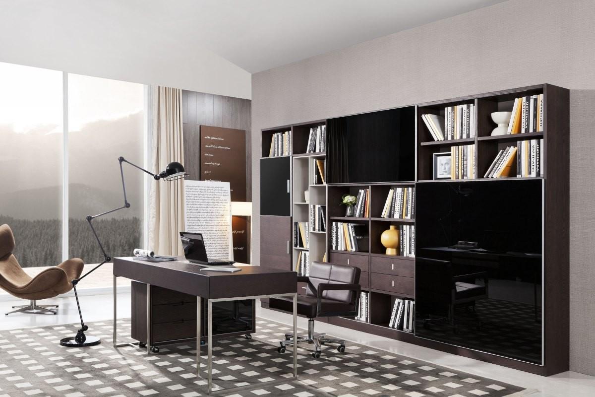 Modrest Ezra Modern Brown Oak And Grey Office Desk W Side
