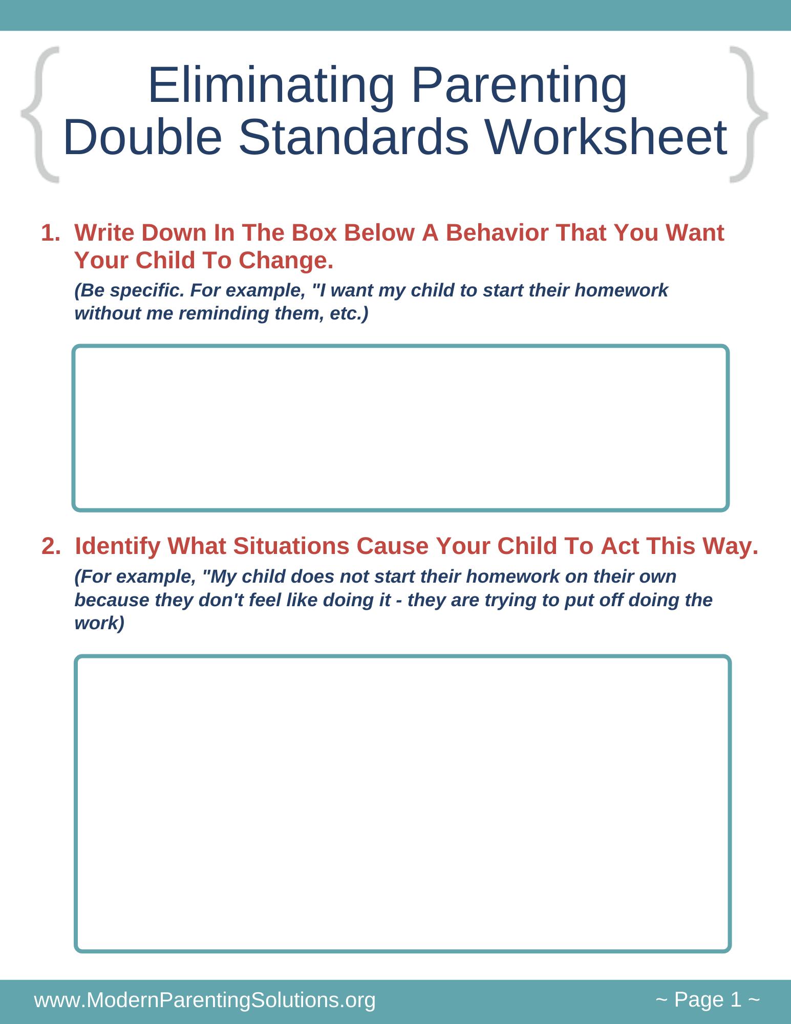 Eliminating Parenting Double Standards Worksheet