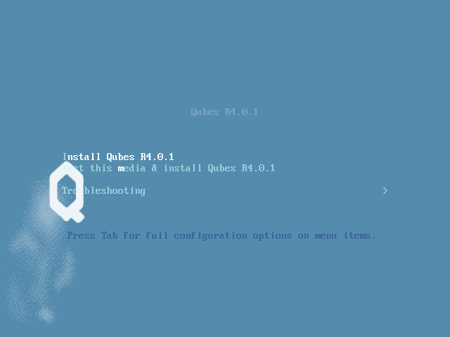 Qubes boot screen