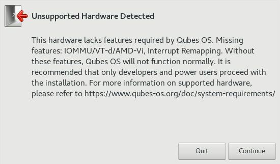 Qubes unsupported hardware