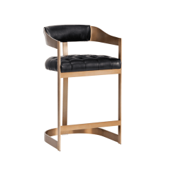 beaumont counter stool in black and antique brass