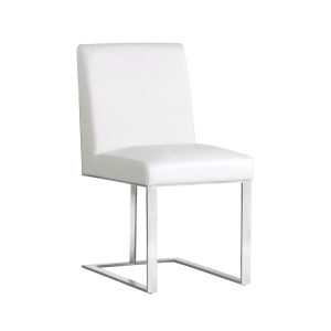 dean dining chair in white and stainless steel