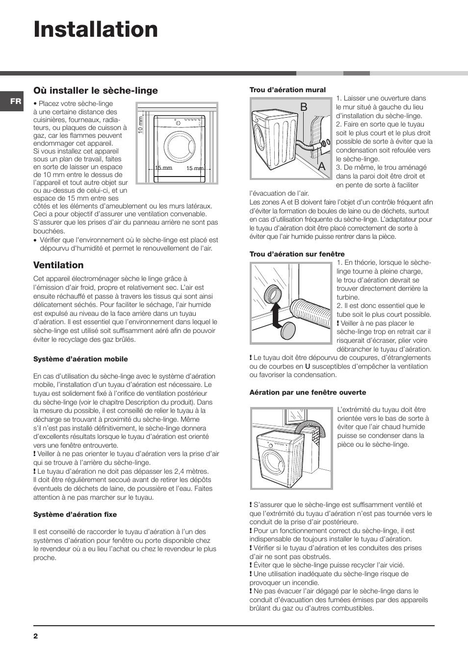 Installation Ou Installer Le Seche Linge Ventilation Indesit Idva 735 Fr Manuel D Utilisation Page 2 16 Mode Original