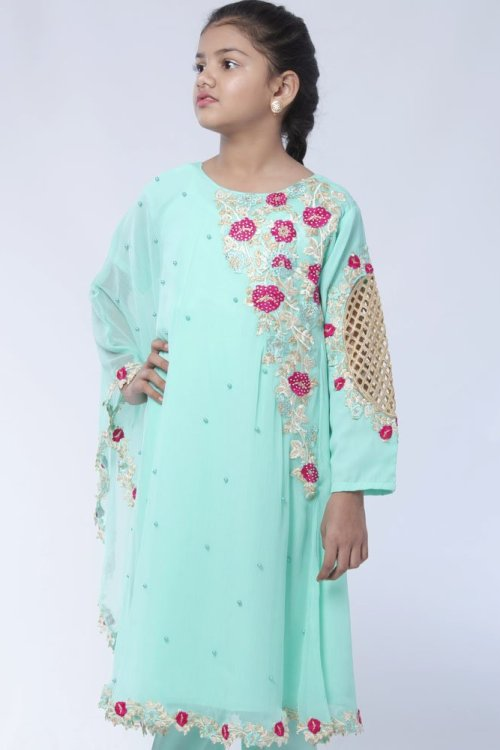 girls floral embroidered cape