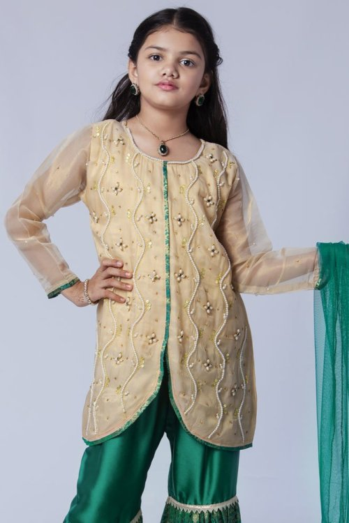 girls traditional green gharara