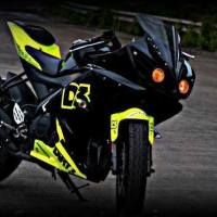 Yamaha R15 V2 Modified 'D3' - Fluorescent green , Projector lights