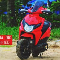 Modified Honda Dio with Angel eye lights