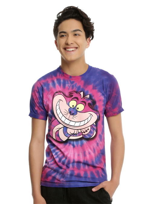 Good Looking Male Model Wearing a Pink and Purple Alice in Wonderland Cheshire Cat T-Shirt