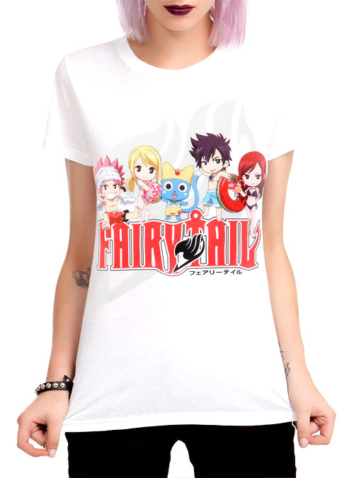 Fairy Tail Anime T-Shirt with Chibi Characters in Swimwear
