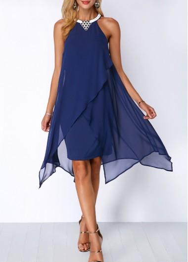 Modlily Chiffon Overlay Embellished Neck Blue Dress - L