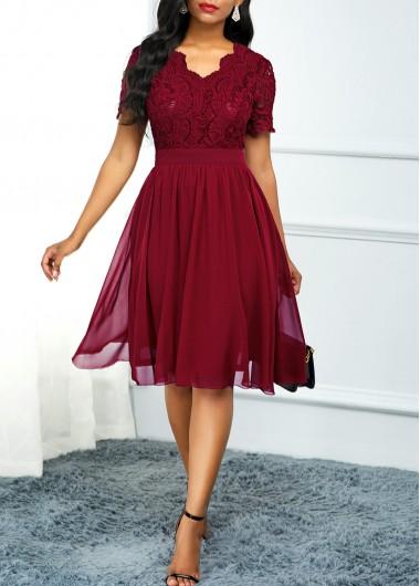 Modlily Christmas Holiday Dress Lace Panel High Waist Short Sleeve Dress - XXL