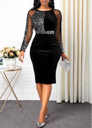 Modlily Black Long Sleeve Back Slit Bodycon Dress New Year Eve Party Dress Sequin Dress - L