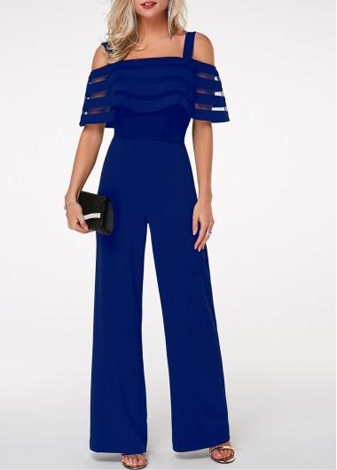Modlily Blue Jumpsuit Cold Shoulder Jumpsuit Strappy Jumpsuit Overlay Embellished Jumpsuit for Women - L