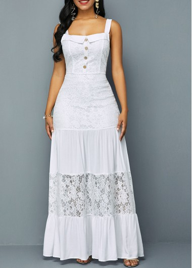 Modlily Button Detail Lace Patchwork Ruffle Hem Dress - S