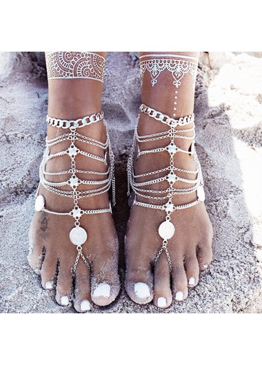 Modlily Silver Coin Decoration Layered Anklet for Lady - One Size